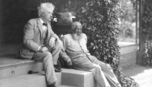 Mark Twain with his friend, John Lewis, in the permanent collection of the Mark Twain House & Museum