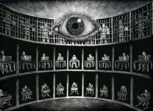 George Orwell feared that, through rapid technological advancement, an outside source could use said technology to make society a prison of itself, much like presented in the novel.