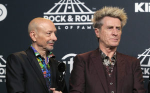 NEW YORK, NY - APRIL 07: 2017 (L-R) Inductees Steve Smith and Ross Valory of Journey attend the Press Room of the 32nd Annual Rock & Roll Hall Of Fame Induction Ceremony at Barclays Center on April 7, 2017 in New York City. The event will broadcast on HBO Saturday, April 29, 2017 at 8:00 pm ET/PT (Photo by Jim Spellman/WireImage for Rock and Roll Hall of Fame)